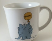 cat with balloon Whoopee Sandra Boynton 80s mug coffee tea fluffy cat coffee tea retro kitchen