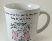 Movie Star Cat mug boynton 80s coffee cup cat  with heels glasses fancy coat silly mugs