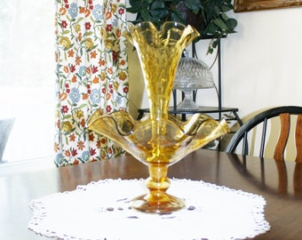 Fenton Epergne Amber Blown Glass  Vintage Vase Ruffled One Horn  Rims Footed Bowl Wedding Centerpiece