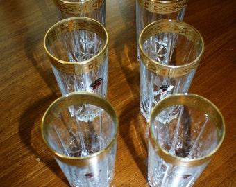 Vintage 24K Gold Rim Glasses Beverage Glass Abra Kristal Hand Made 24KT Gold Set Of 6 High Ball Barware