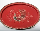 Peacock Serving Tray Mid Century Brick Red Platter