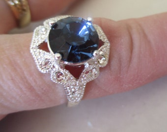 Vintage Royal Blue Foil Back Rhinestone Ring in a Silver Setting, SIZE 10, Bridesmaid, Wedding, September Birthday Ring, Anniversary, Gift