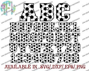 Digital Cut Files, Soccer Letters & Numbers, Football, SVG, DXF, EPS, Sports, Varsity, Vinyl, Silhouette, Cricut