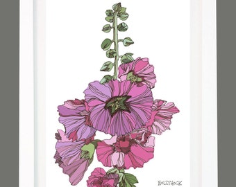 Hollyhock Pink Flower Floral Garden Illustration A4/A3