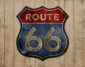 "Route 66 METAL Highway Shield 15x15"" FREE SHIPPING"