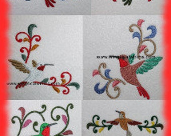 Hummingbird Set of embroidery designs Digitized Machine Embroidery Set of 6 Great for dish towels