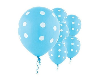 Light Blue Polka Dot Balloons | Polka Dot Balloons Wedding | Birthday Parties | Baby Showers Balloons | Gender Reveal Balloons