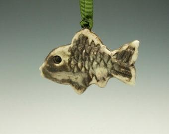Raku Fish Ornament.  Black, cream and brown.  Ready to ship.