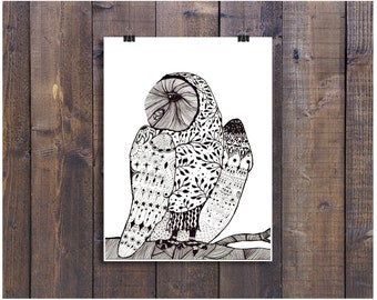 Black and White Art, Owl Art, Pen and Ink Art, Pen Art, Ink Art, Pattern Art, Nursery Art, Owl Illustration, Owl Drawing, 8 x 10 Art Print