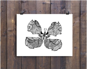 Pen and Ink Print Black and White Art Butterfly Wolf Illustration Artwork Signed 5 x 7 Art print