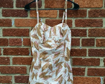 SWIMSUIT SALE Vintage 50s Catalina Masterpiece Leaf Feather Print Bombshell Swimsuit S M