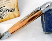 Civil War pen handcrafted from wood recovered where Stonewall Jackson was mortally wounded, Springfield musket rifle bullet pen stabilized
