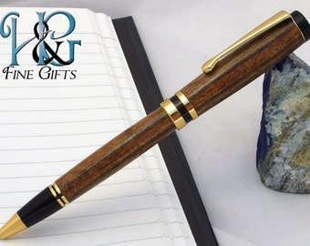 Wood Pen in zebra wood with gold setting, handcrafted wooden pen in 24k gold, handmade wood pen, exotic wood pen, natural wood, wooden pen