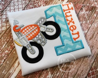 Dirtbike Birthday Applique shirt - Customizable -  Infant to Youth 34