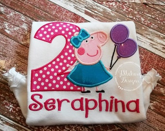 Peppa Pig Birthday Custom Tee Shirt - Customizable -  Infant to Youth 241