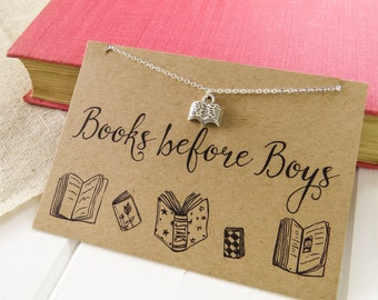 Books before Boys Necklace - Anti- Valentine's Day Gift for Book Lover - Silver Book Necklace - Friendship Necklace - Book Jewellery