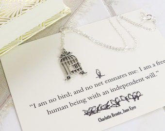 Jane Eyre Birdcage Necklace - Literature Gift for Book Lover - 'I am no bird...' - Bronte Quote - Book Jewelry - Literary Quote Postcard