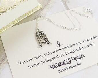 Jane Eyre Birdcage Charm Necklace - Literature Gift for Book Lover - 'I am no bird...'