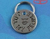 SMALL Cute Cat Tag - Customized Unique Cat ID Tag - Cool Small Pet Tag - Call My People - Phone Number on Back