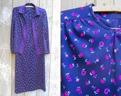 Vintage dress set   1970s dark floral knit dress with matching border print jacket