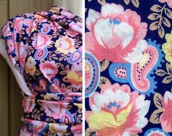 Destash fabric sale   Paisley floral navy blue knit jersey stretch fabric