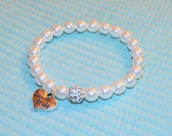 Bridal Jewelry Pearl Bracelet Beach Wedding Jewelry Wedding Bracelet Rhinestone Pearl Bracelet