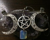 Opalite & Pentacle Crescent Moon Statement Necklace - Pagan, Wiccan, Moon Goddess, Goddess Necklace, Silver