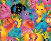 DOGS and DOGGIES designed by Laurel Burch for Clothworks - BTY - Y1798-56M