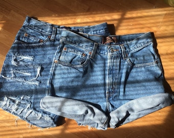 2 Pair of high waist shorts/distressed/cuffed/levis lee wrangler guess/denim shorts/plus size