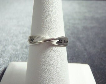 Sterling Silver Nothing is Impossible Ring Sz 6 3/4 R242