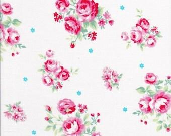Pink Rose Fabric - Tiny Aqua Flower Fabric - Lecien Fabric - Flower Sugar Fabric