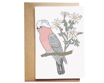 Gallah and Flannel Flowers Card