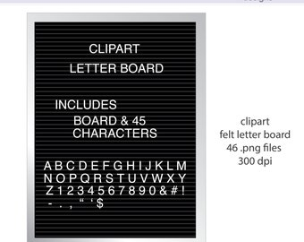 Felt Letter Board and Letters Digital Clipart - Instant download PNG files