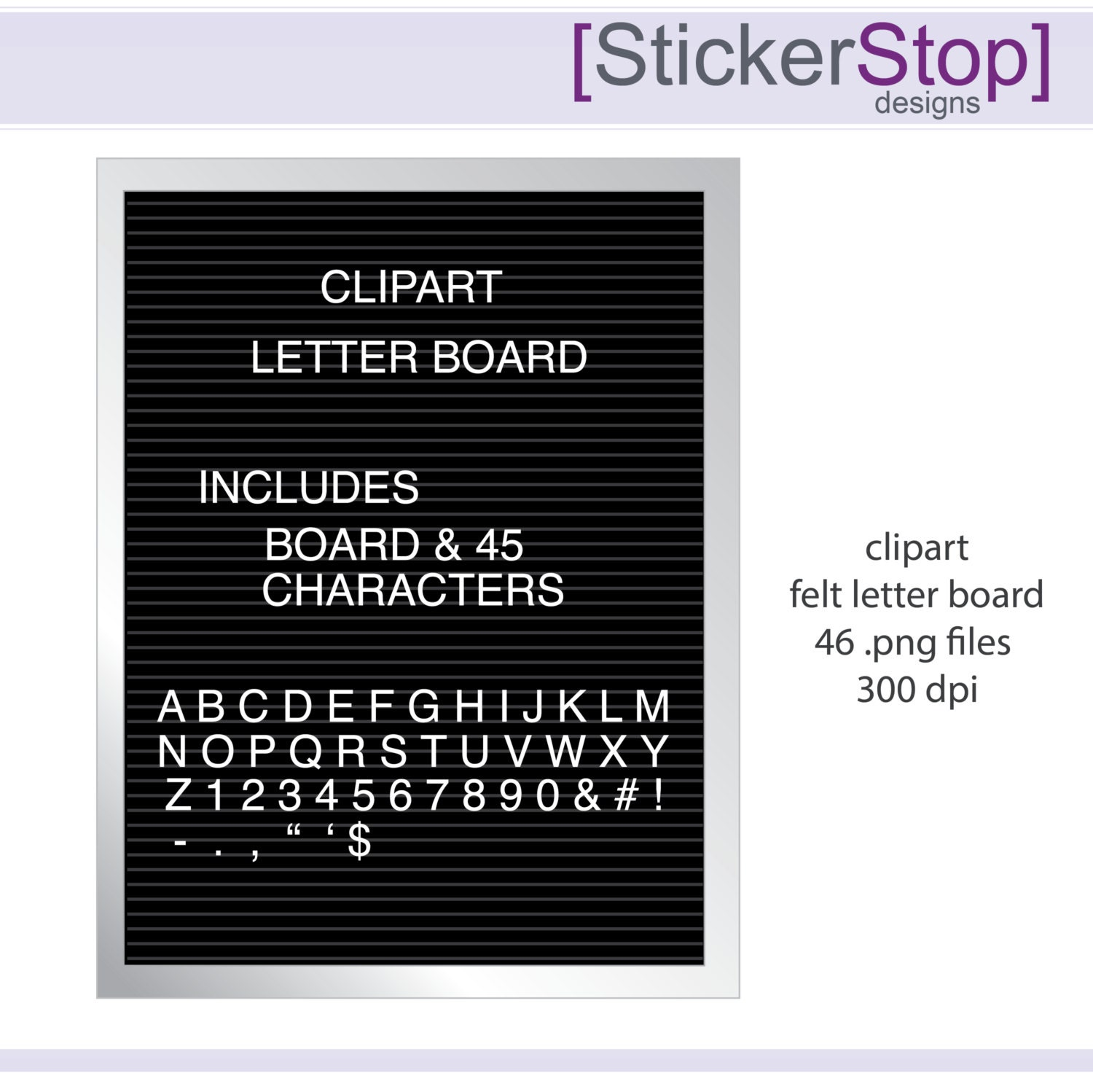 Felt Letter Board and Letters Digital Clipart by StickerStop