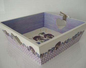 SOLD - Feminine Handmade Square Wooden Serving/ Jewellery/ Trinket/ Bread Tray PANSY.