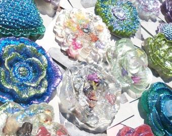 Custom Glitter Resin Flower Brooch