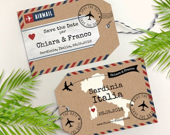 Airmail Luggage Tag Save the Date on Kraft Paper