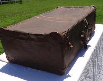 Vintage Metal Suitcase, Mid Century Luggage, Metal Trunk