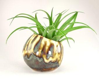 Brown Planter, Small Brown and White Bonsai Accent Pot, Glazed Kusamono, Succulent Planter with Slant Opening, Wabi Sabi Pinch Pot 06-16-03