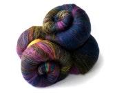 Spinning batts - 21 micron Merino - Silk - Firestar - 100g - 3.5oz - Dark blue - hot pink - green - teal - OIL SLICK