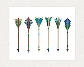 Blue and Green Arrows - Poster Print Vintage Inspired - Art Collage Illustration Print