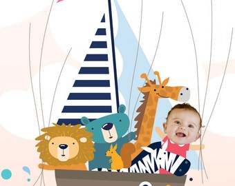 Collage Birthday Guestbook, Girl on a boat, Girl Baby shower Thumbprint Guestbook, Girl with Animals collage, Baptism Personalized Gift, PDF