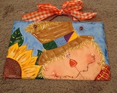 Scarecrow & Sunflower Harvest Welcome sign hand painted slate, decor, slate painting