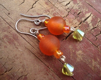 Orange Glass Earrings, Peridot Silver Earrings, Frosted Glass Earrings, Dangle Drop Hook Earrings, Hippie Boho Earrings, OOAK, One Of A Kind