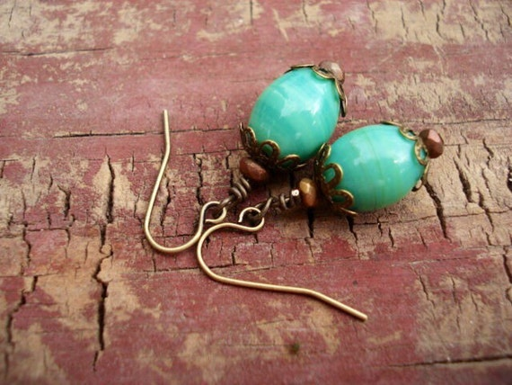 Mint Green Earrings, Green Milk Glass Earrings, Women's Dangle Earrings, Drop Earrings, Brass Earrings, Earrings Handmade, Boho Earrings
