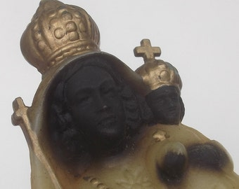 Vintage Black Madonna Statue, Glowing in the dark, Virgin Mary and Child, Our Lady of the Hermits in the Dark Forest