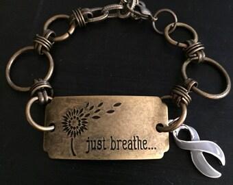 Brain Cancer Awareness Bracelet - Brave Charm - Gray Grey Ribbon Survivor Gift - Diabetes Awareness - Just Breathe