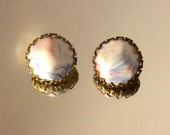 Vintage Rockabilly Clip On Earrings Costume Jewelry Pastel Earings