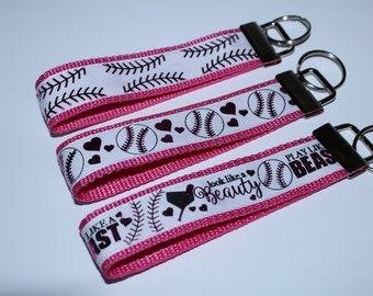Hot Pink stitches softball & hearts key chain/Pink softball stitches ribbon key chain/ Look like a beauty, play like a beast Softball Girl.