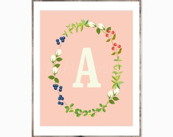 Initial Art - Printable Art - Nursery Art - Girl's Room Art - Home Decor - Printable PDF
